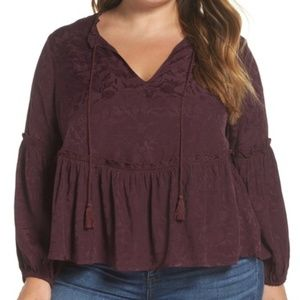 Lucky Brand Purple Lux Jacquard Peasant Top NWT